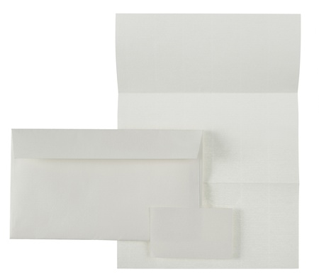 Business stationäre Set. Umschlag, Blatt Papier und Visitenkarte. isolated over white background Standard-Bild - 9469582