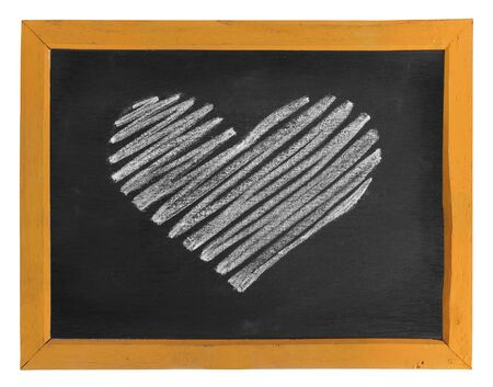 chalk line: heart icon hand-drawn on wooden blackboard