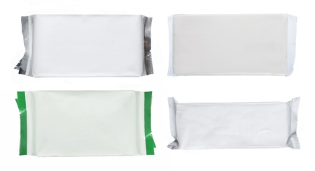 set of white blank foil packaging isolated over white. ready for your design photo