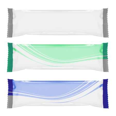 bagged: set of white blank foil packaging isolated over white. ready for your design Stock Photo