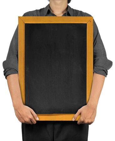 man holding a blank blackboard. isolated over white photo