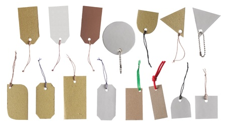 sale tag: set of Blank hang tag, gift tag, sale tag, price tag label, etc. isolated over white background Stock Photo