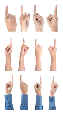 gesture of hand pointing collection. isolated over white background photo