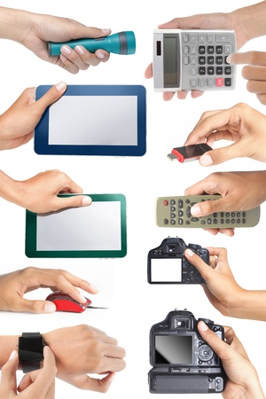 set of hand holding electronic devices, isolated over white background photo