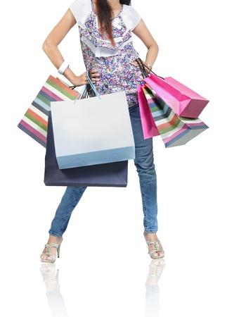 Schöne Frau mit vielen Einkaufstaschen Standard-Bild - 9607721
