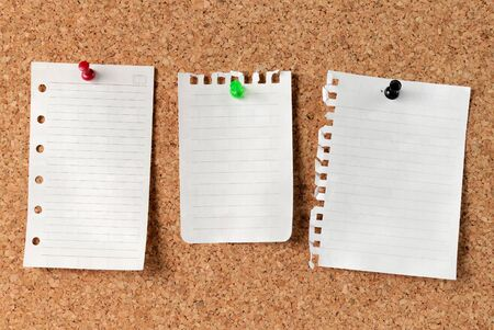 pinboard: Notes on Cork Board. white note paper attached with thumbstack