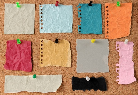 cork board: set colorful stickers note pinned to a cork board Stock Photo