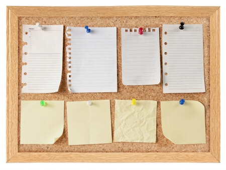 collection of vaus note papers on cork board Stock Photo - 9607751
