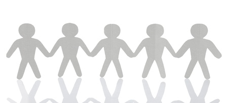 teamwork, paper people over white background Stock Photo - 9686710