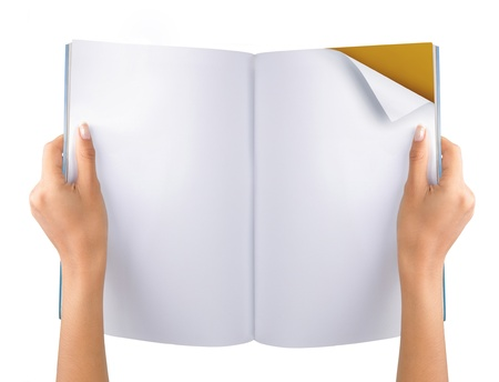 turning page: gesture of hand open the blank magazine. isolated over white background Stock Photo