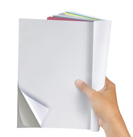 Hand Holding Magazin. bereit für Ihr neues design Standard-Bild