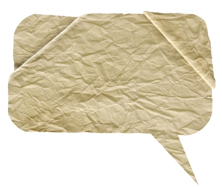 crumpled high detail Paper speech bubbles over white photo