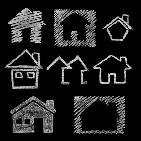 home group: house icon variations, hand drawn on blackboard