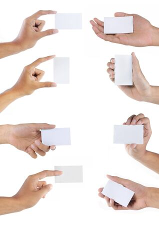 Set of hand holding blank business card over white Stock Photo - 9848817