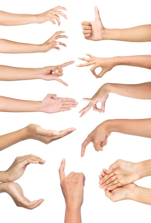 Set of many different hands gesture over white background photo