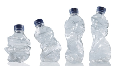 set of empty used plastic bottles on white background. each one is shot separately Stock Photo - 9912779