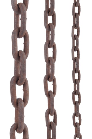 rusty old steel chain in any different size on white background Archivio Fotografico