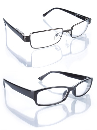 set of glasses isolated on white background