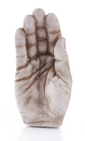 open hand statue isolated on white background photo