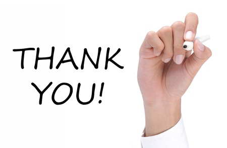 writing black: hand writing thank you on white Stock Photo
