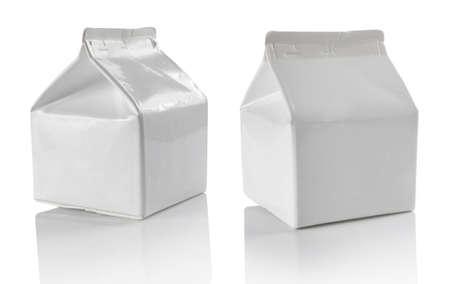 White blank milk box isolated on white photo