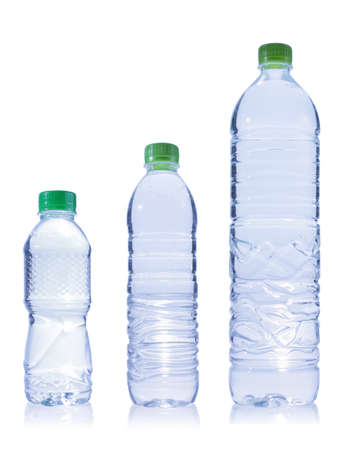 Three Plastic bottle of water. Isolated on white photo