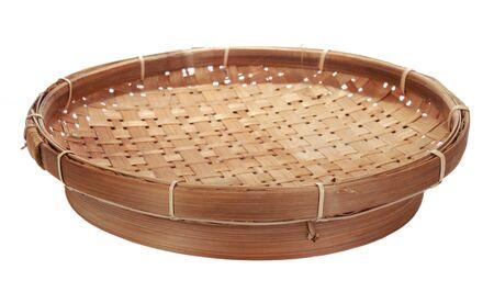hamper: bamboo basket. isolated on white Stock Photo