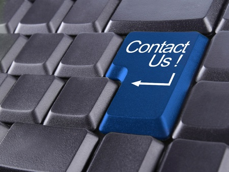 email contact: contact us or support concept with computer keyboard button