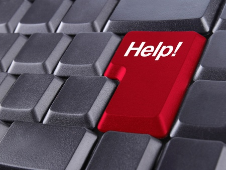technical support: HELP concept button on red keyboard