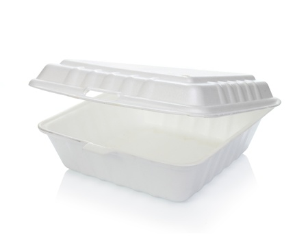 Styrofoam of food container isolated on white Archivio Fotografico