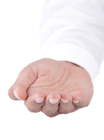 woman's hand: gesture of womans open hand isolated over white background