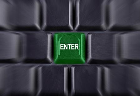 grünen Enter-Taste auf der Tastatur schwarz