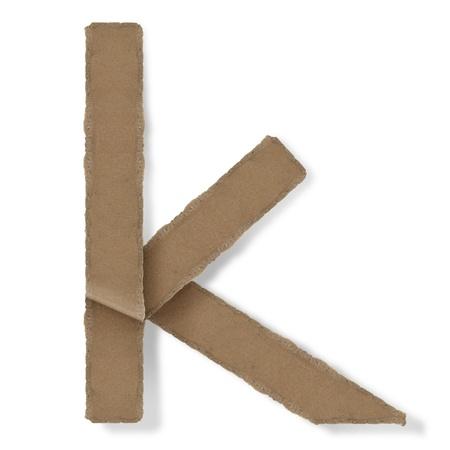 Origami-Stil Buchstaben des Alphabets. hoher Auflösung auf weißem Hintergrund. k