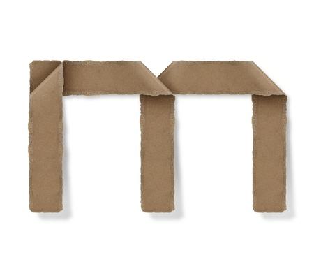 Origami-Stil Buchstaben des Alphabets. hoher Auflösung auf weißem Hintergrund. m Standard-Bild