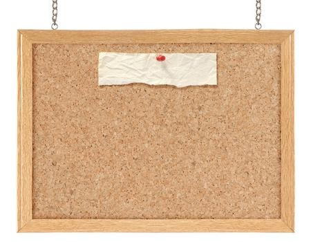 corcho: Tablero de corcho aislado sobre fondo blanco
