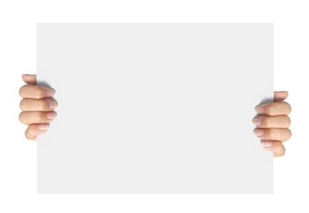 textfield: Advertising. hand hold on a paper ready for your design Stock Photo