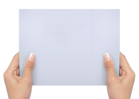 hand holding a blank white paper isolated on white. ready for your ad Stock Photo