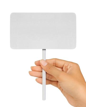 Blank Sign In der Hand auf einem weißen Hintergrund.