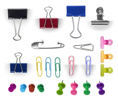 collection of paper clip, pin and thumbtack isolated over white background. each one shot separately. ready for your design photo