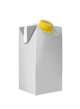 Juice or milk package isolated over white background photo