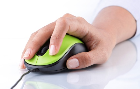 hand clicking on mouse computer on white background