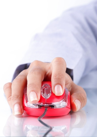 Nahaufnahme von Hand Arbeitskonzept mit Maus Computer Standard-Bild