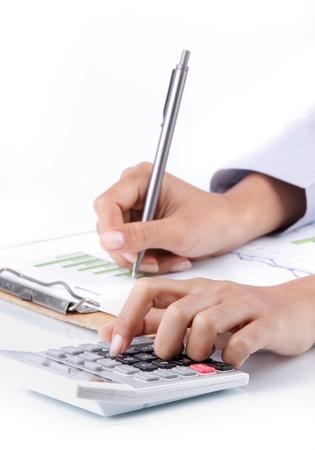 Business-Konzept von der Hand zu analysieren Einkommen Ergebnis Standard-Bild