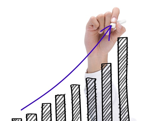 hand drawing chart representing growth. business concept of success photo