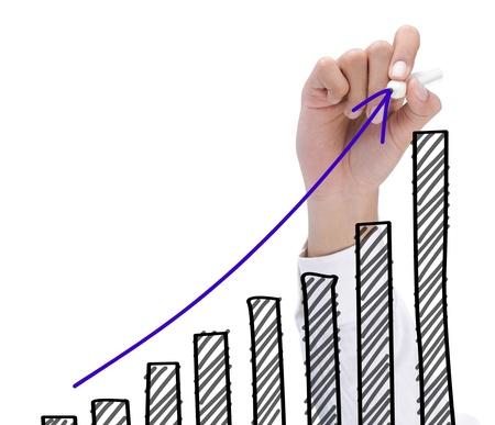 Handzeichnung Diagramm, das Wachstum. Business-Konzept von Erfolg