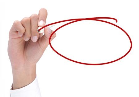 Handzeichnung mit einem roten Kreis. bereit für Ihren Text innerhalb des Kreises
