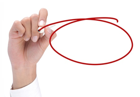 hand drawing a red circle. ready for your text inside the circle