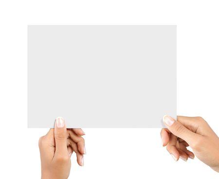 womans Hand und eine Karte auf weißem Hintergrund Standard-Bild