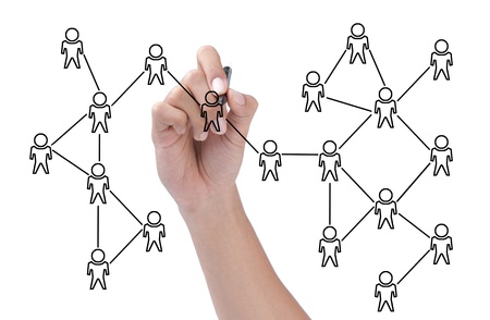 hand drawing a social network scheme isolated over white background Stock Photo - 11772424
