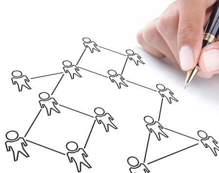 Social-Networking-Konzept auf weissem Karton gezogen Standard-Bild